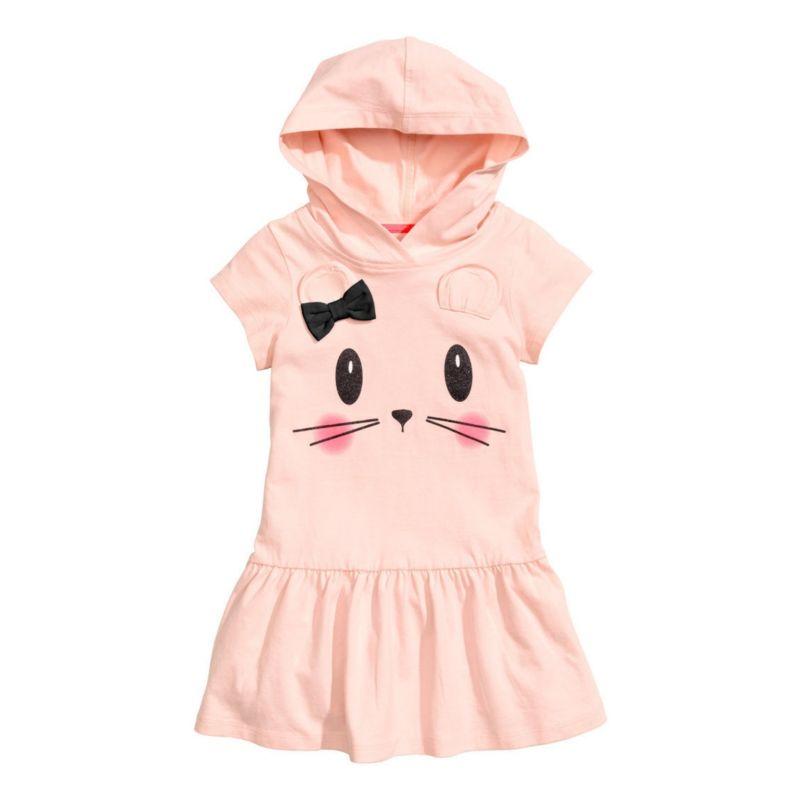 Cute Cat Pattern Toddler Little Kids Hoodie Dress