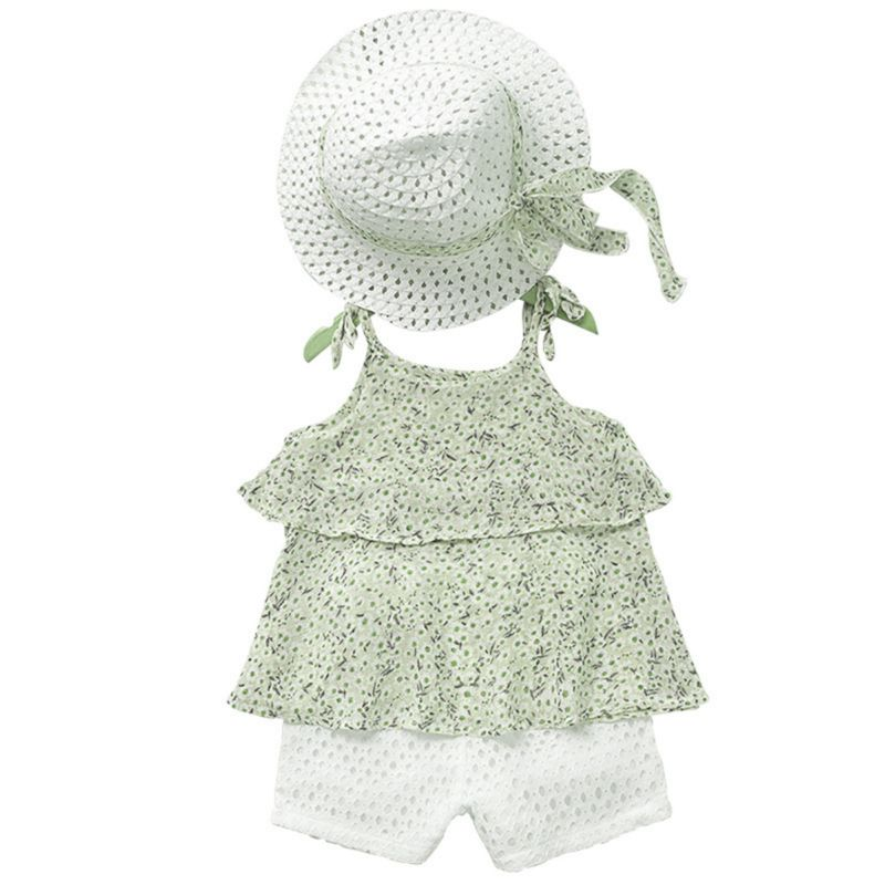 3-Piece Little Big Girl Floral Tie Top+White Shorts +Hat Outfits