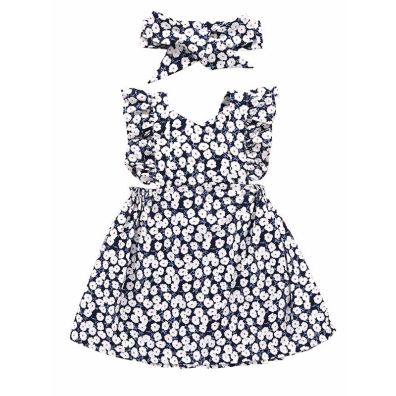Baby Little Girl Flutter Sleeve Floral Dress Matching Headband