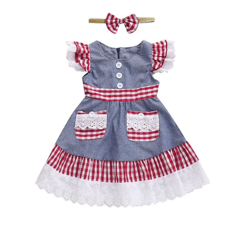Baby Little Girl Checked Lace-trimmed Dress Matching Bow Headband