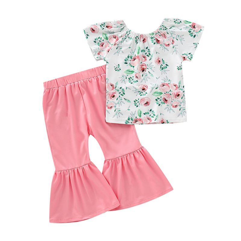 2-Piece Fashion Baby Little Girl Flower Off Shoulder Top+Pink Flared Trousers