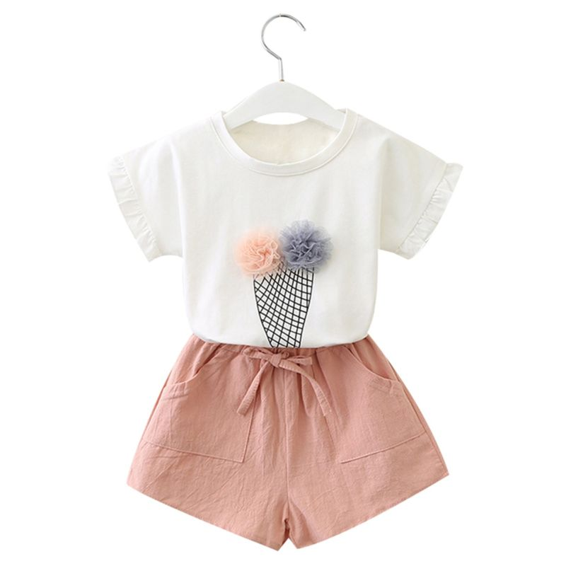 2-Piece Summer Toddler Big Girl Outfits Ice Cream Style T-shirt+Pink Shorts