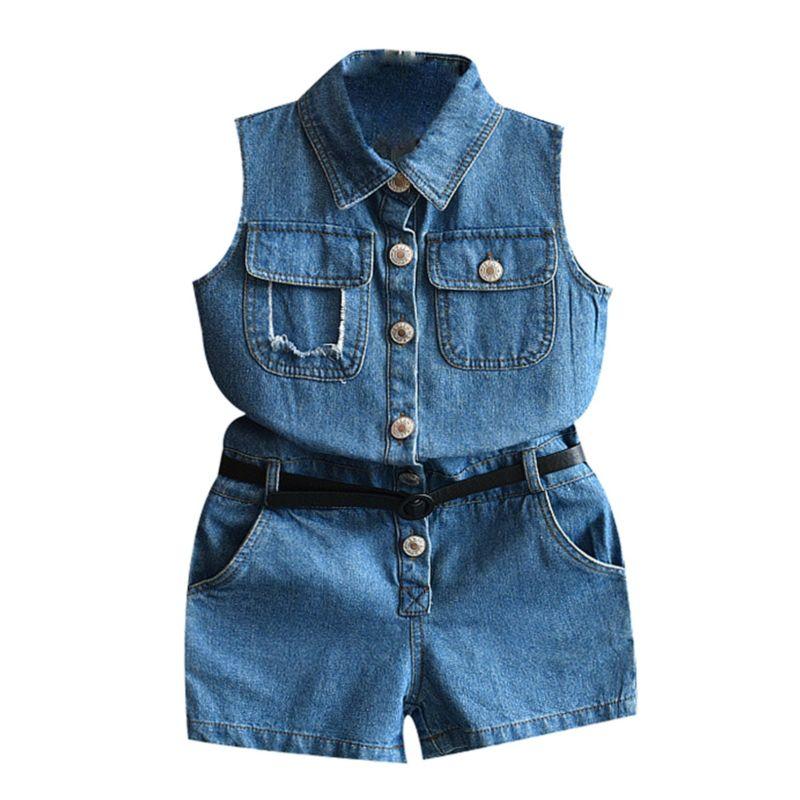 5-PACK Fashion Toddler Little Girl Sleeveless Denim Jumpsuit Matching Belt