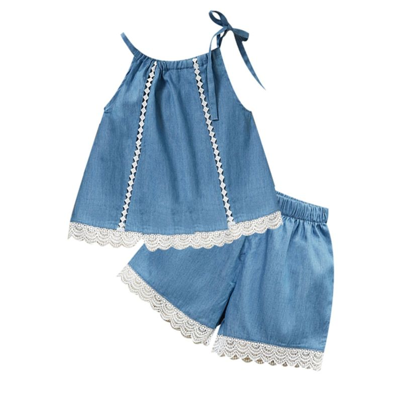 2-Piece Toddler Little Girl Lace-trimmed Outfits Tie Top+Shorts