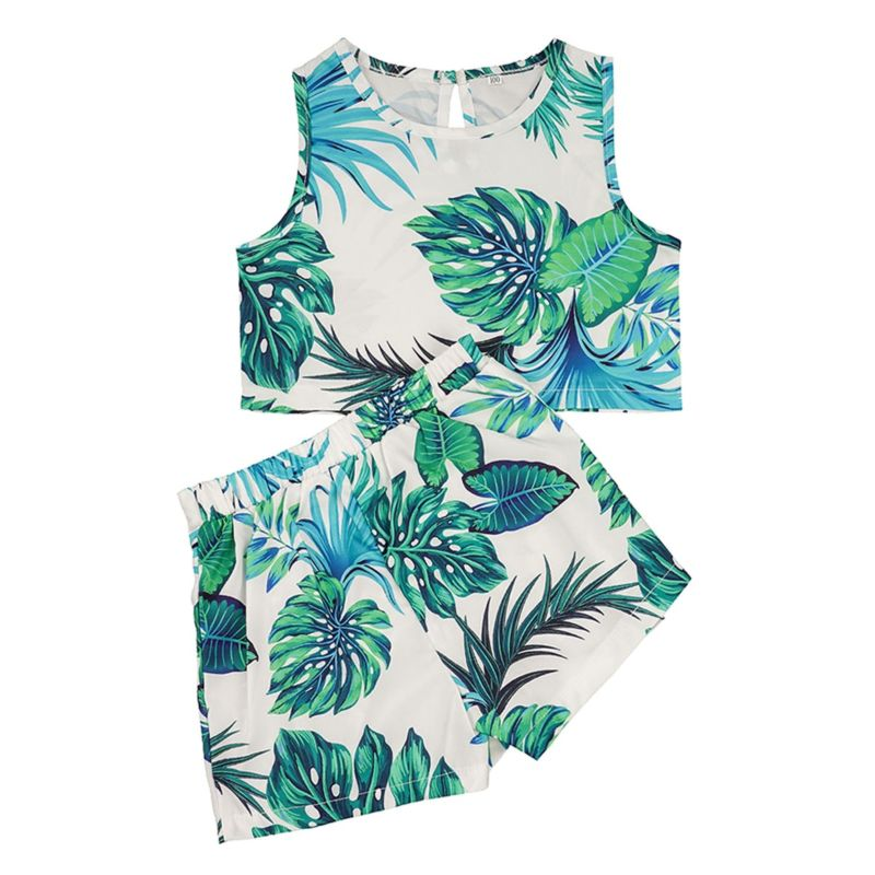 2-Piece Baby Little Girl Leaf Print Outfit Sleeveless Top+Shorts