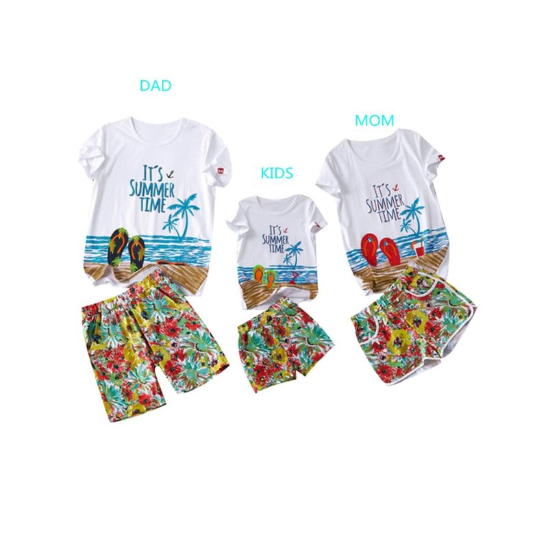 Family Matching Hawaii Style Beach Clothes Outfits for Kids T-shirt+Shorts