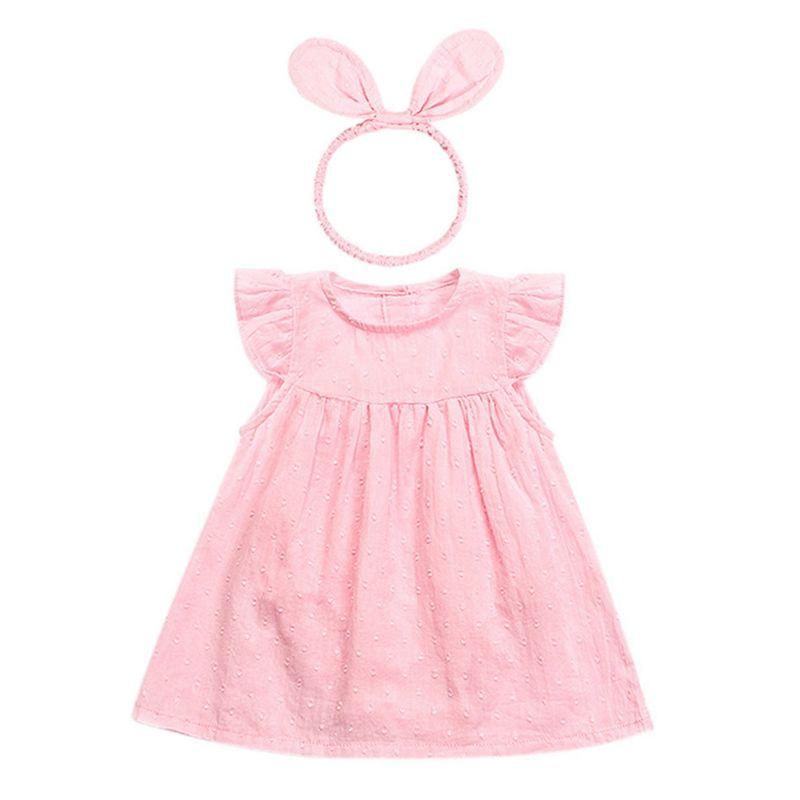 Flutter Sleeve Pink/White Baby Girl Dress Matching Headband