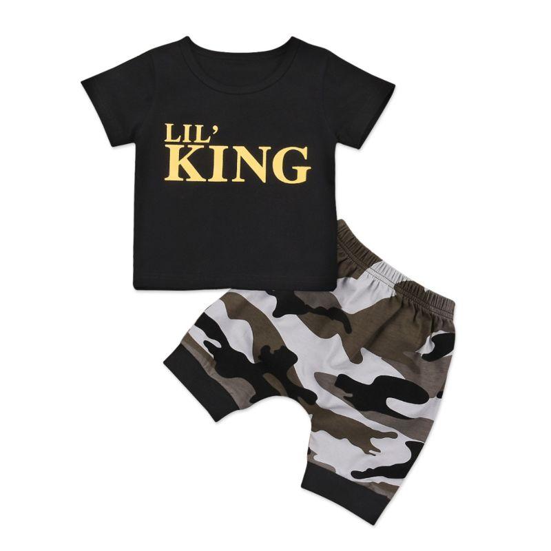 2-Piece Summer Infant Little Boy Clothes Outfit LIL' KING Black T-shirt+Camo Middle-Pants