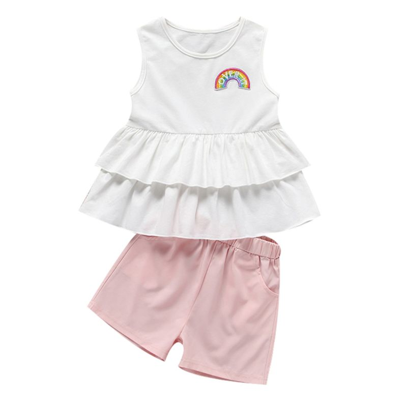 2-Piece Cute Baby Little Girl Clothes Outfit Rainbow Sleeveless Ruffle Top+Pink Shorts