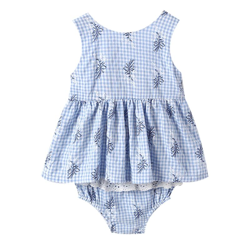 2-Piece Fashion Baby Girl Flower Print Outfit Backless Big Bow Tunic+Lace-trimmed Ruffle Shorts