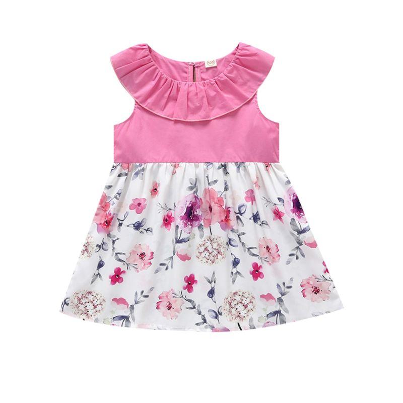 Baby Little Girl Ruffle Collar Summer Flower Dress