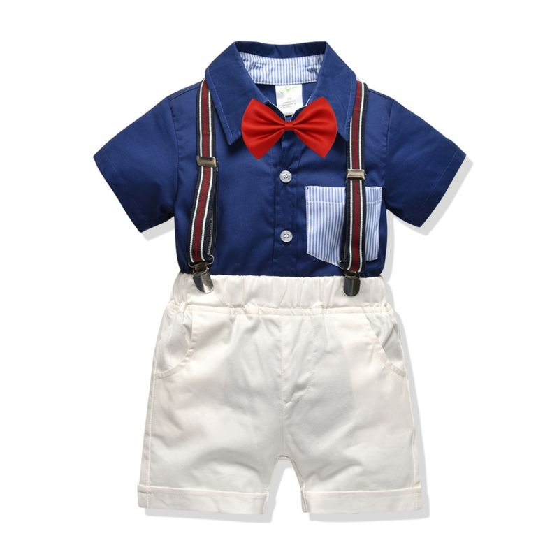 4-Piece Summer Baby Boys Clothing Outfits Set Short-sleeved Turn Down Collar Shirt Matching Bow Tie+ White Suspender Shorts