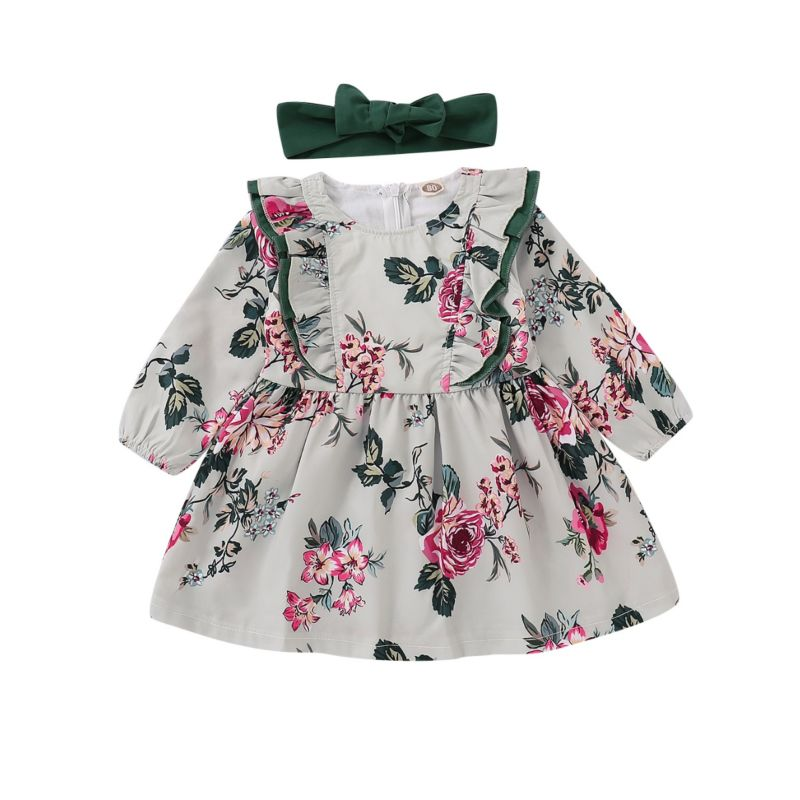 Spring Flower Ruffle Baby Toddler Girl Dress Matching Green Headband
