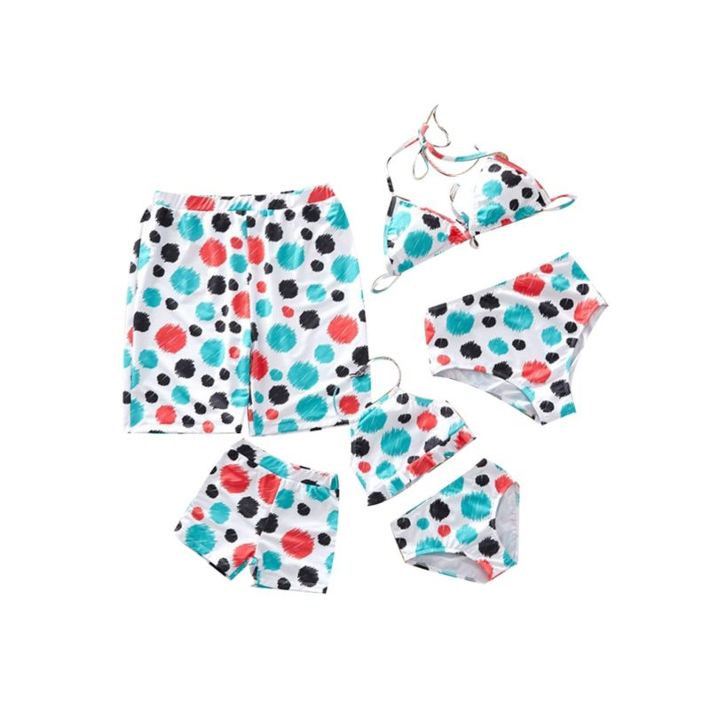 Family Outfit Stylish Colorful Polka Dots Swimming Trunks for Dad and Son