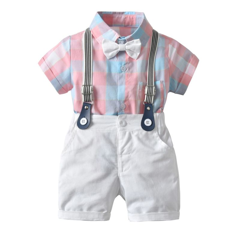 4-Piece Summer British Style Infant Outfit Color Blocking Bodysuit Matching Bow Tie+White Suspender Shorts