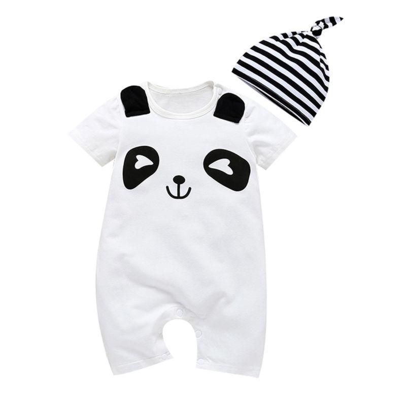 2-Piece Summer Panda Pattern Jumpsuit Matching Stripe Hat