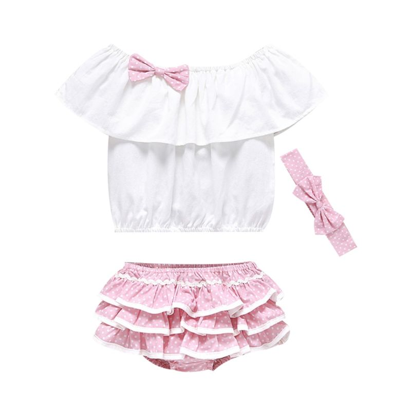 3-Piece Summer Baby Girl Clothes Outfit Bow White Off Shoulder Top+Frilled Polka Dots Layered Shorts+Pink Headband