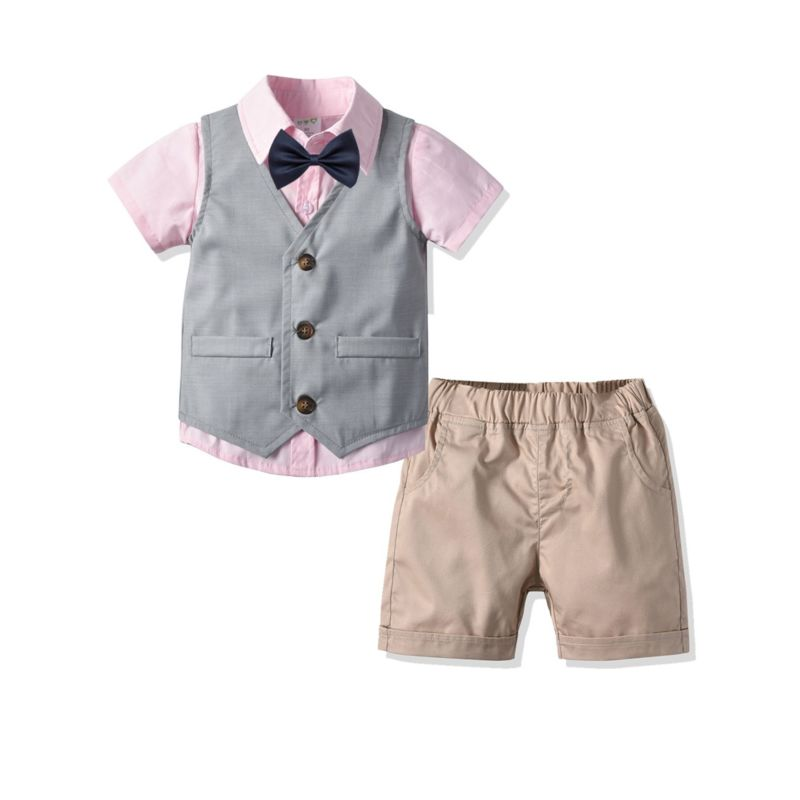 4-Piece Summer British Style Gentleman Baby Little Boys Casual Suits Pink Shirt Matching Bow Tie+Waistcoat +Shorts