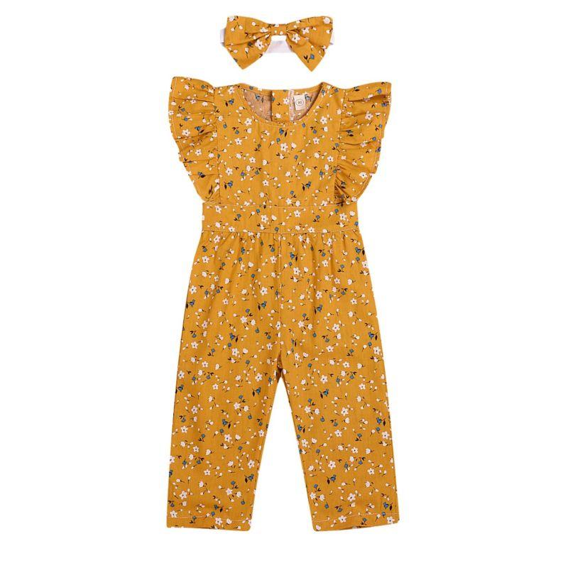 Short Flutter Sleeve Floral Baby Little Girl Jumpsuit Matching Headband