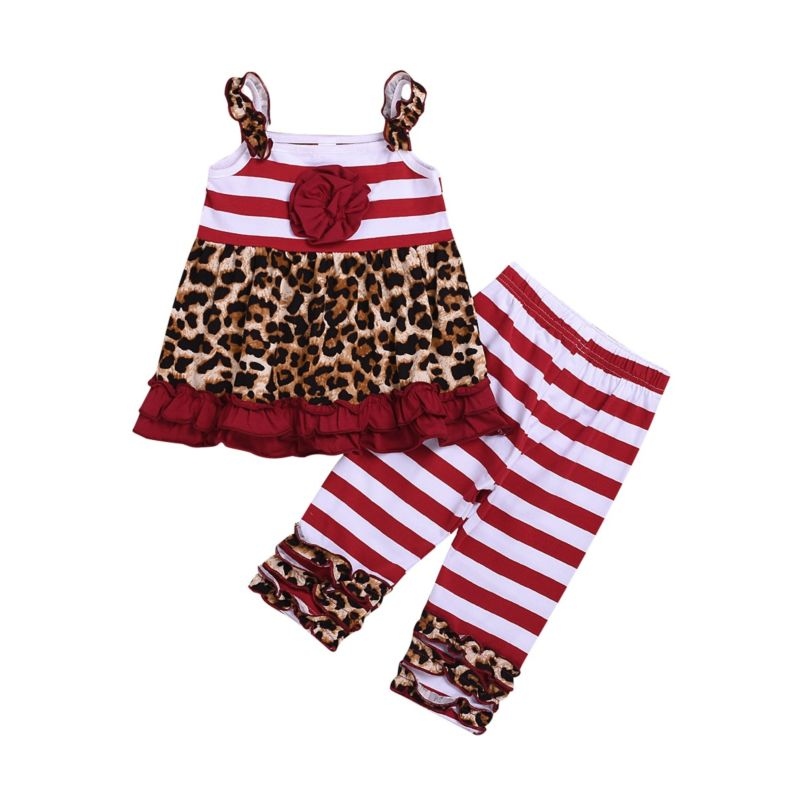 2-Piece Fashion Toddler Little Girl Leopard Print Stripe Outfit Ruffle Suspender Top Matching Ruffle Icing Pants
