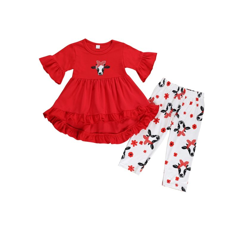 2-Piece Toddler Little Kids Cow Flower Pattern Outfit Red Ruffle Tunic Matching Pants