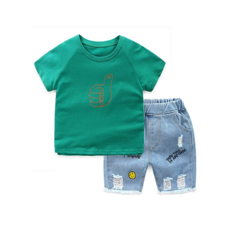 2-Piece Fashion Toddler Little Boy Clothes Outfit T-shirt Matching Ripped Fringe-Hem Short Jeans