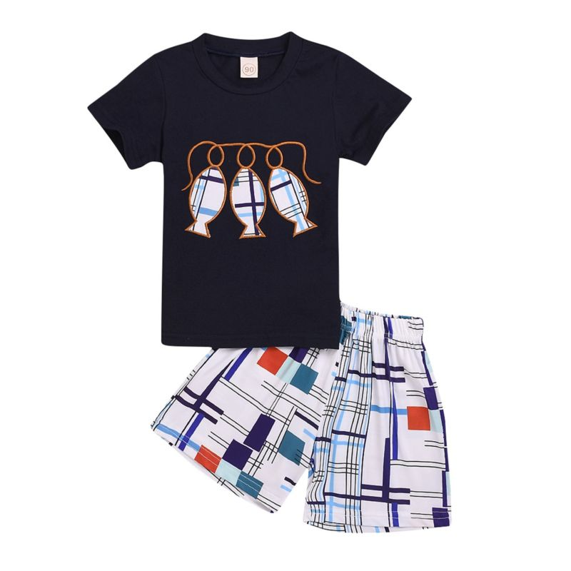 2-Piece Summer Baby Little Kids Clothes Outfit Fish T-shirt Matching Shorts