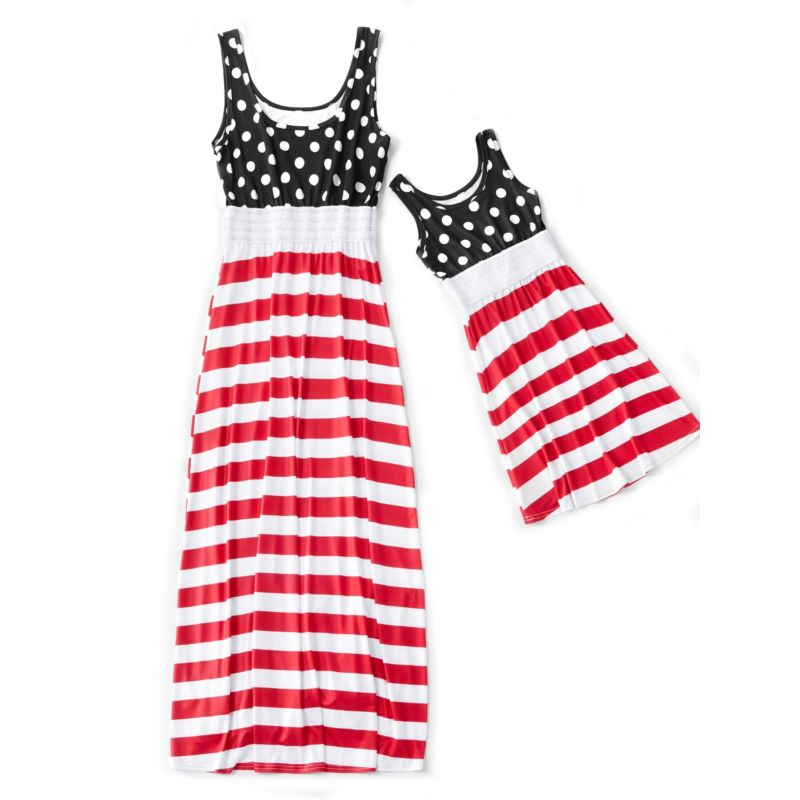 Mom and Me Fourth of July Theme Polka Dots Stripe Patchwork Sleeveless Long Dress