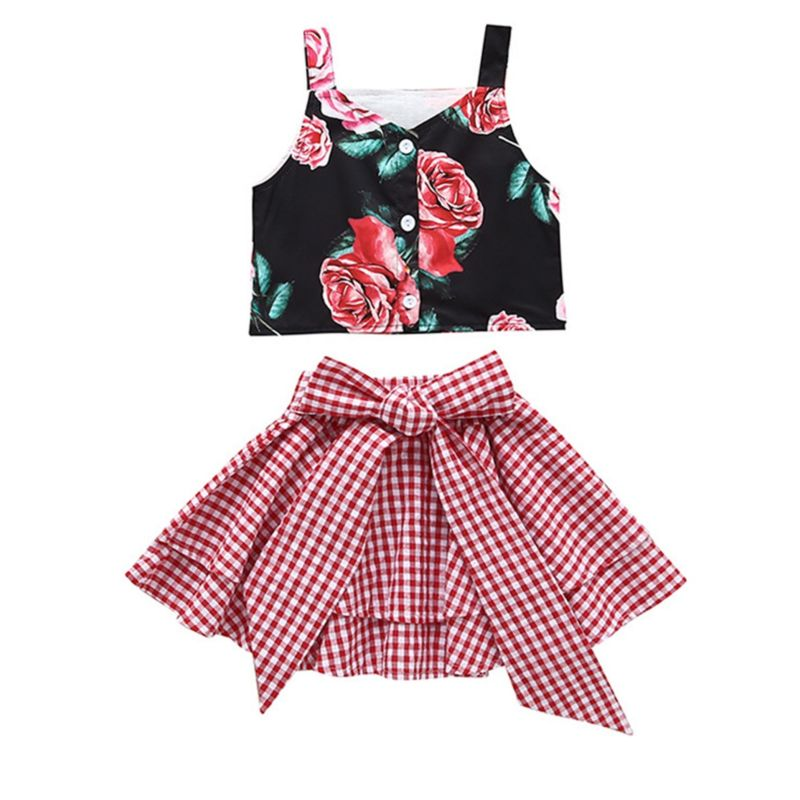 2-Piece Fashion Toddler Little Girl Flower Crop Top Matching White and Red Plaid Big Bow Skirt