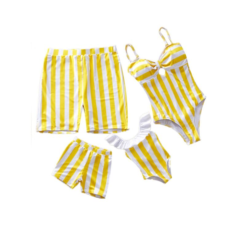Family Outfit White and Yellow Striped Pattern Swimming Trunks for Dad and Son