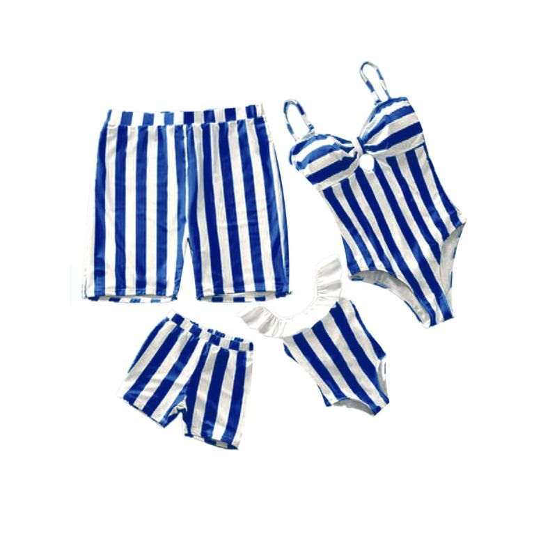 Family Outfit White and Blue Striped Pattern Swimming Trunks for Dad and Son