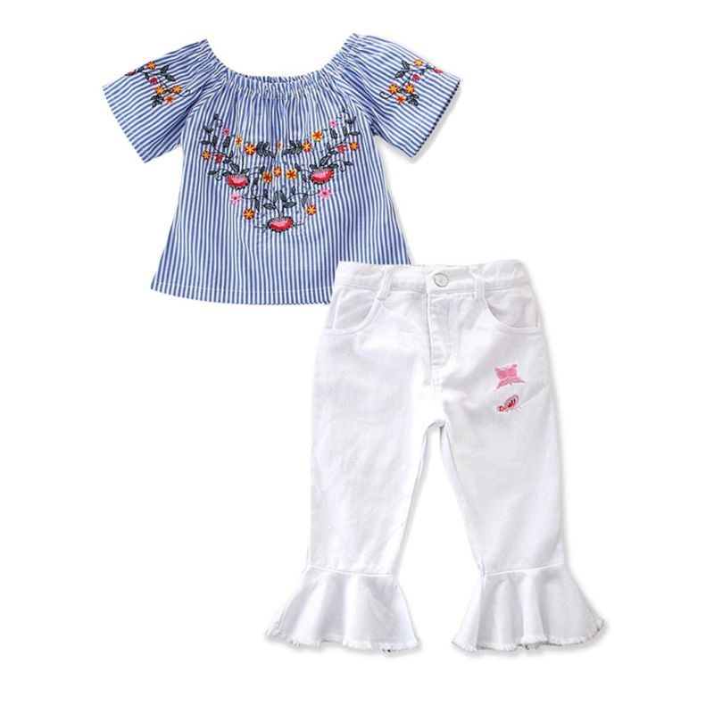 2-Piece Fashion Toddler Little Girl Clothes Outfit Flower Embroidery Stripe Off Shoulder Top Matching White Bell Bottoms