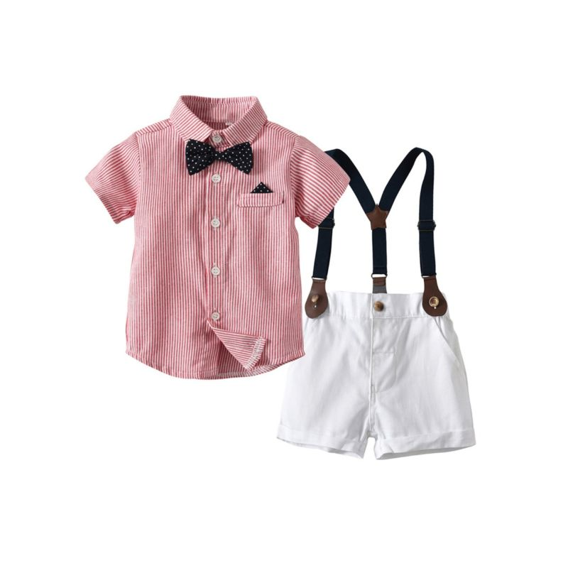 2-Piece British Style Baby Summer Clothes Outfit Shirt Matching Bow Tie +Suspender Shorts