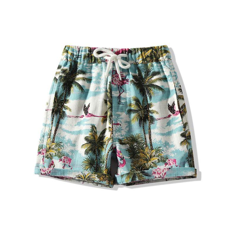 Toddler Little Boy Coconut Tree Flamingo Beach Pull-on Shorts