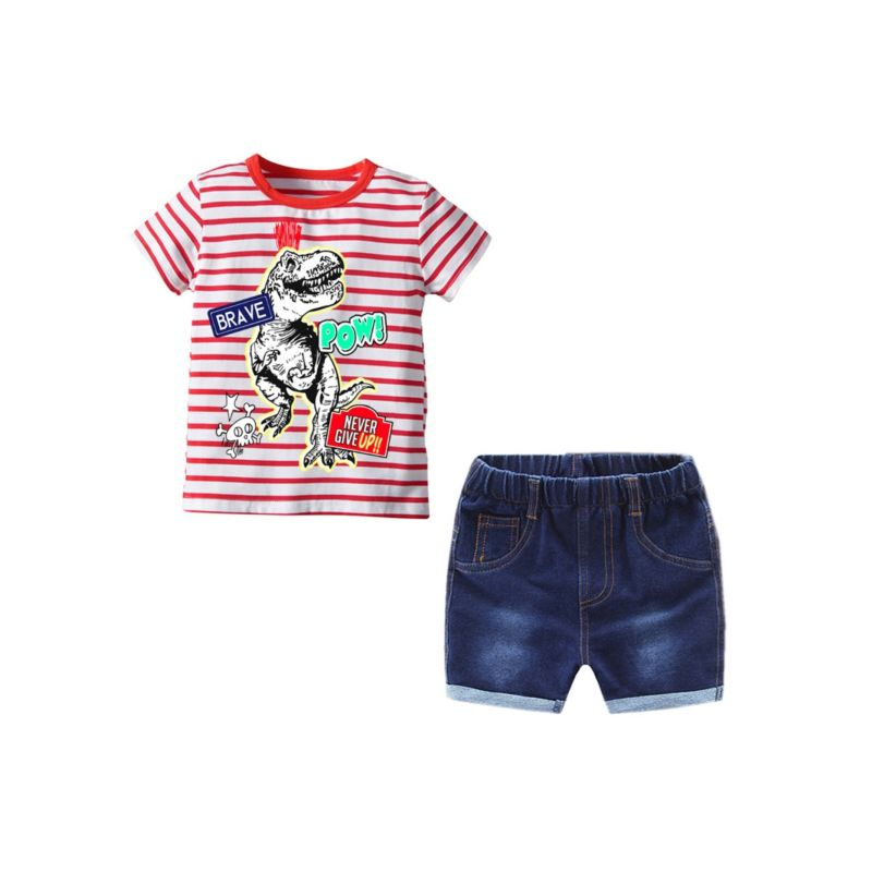 2-Piece Summer Baby Toddler Boy Outfit Dinosaur Striped T-shirt Matching Denim Shorts