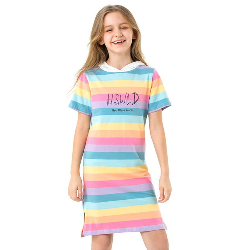 Little Big Girl Rainbow Color Hooded Shift Dress