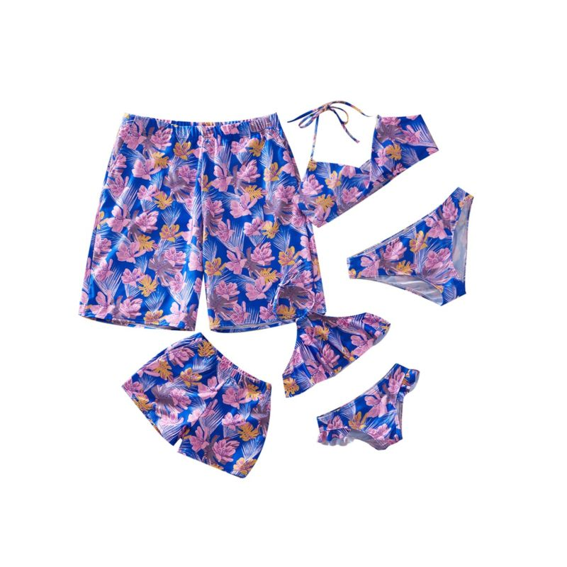 Family Outfit Flower Leaf Pattern Halter Neck Bikini Swimwear for Mom and Daughter