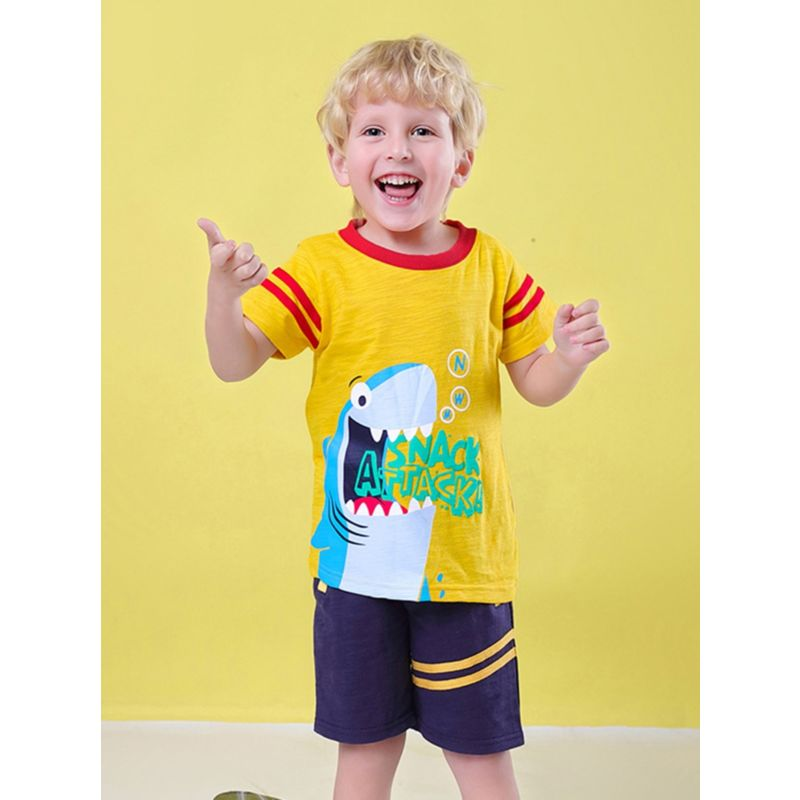 2-Piece Baby Toddler Boy Clothing Outfit Shark Yellow T-shirt Matching Shorts
