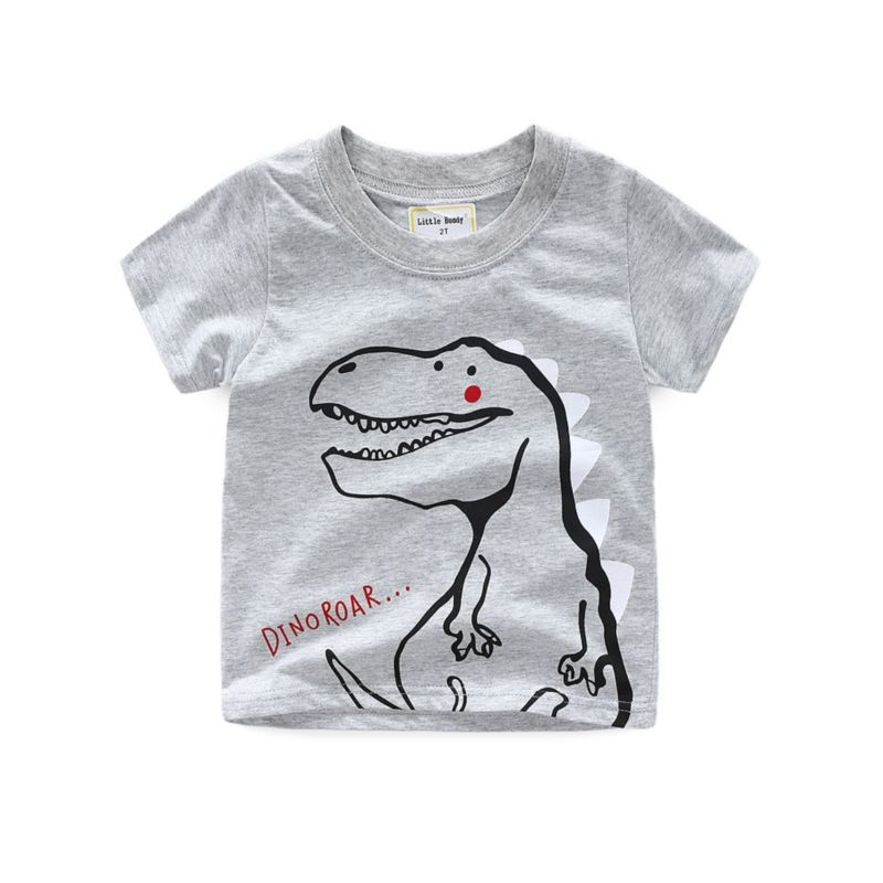 6-PACK Toddler Little Boy Dinosaur Print Grey T-shirt