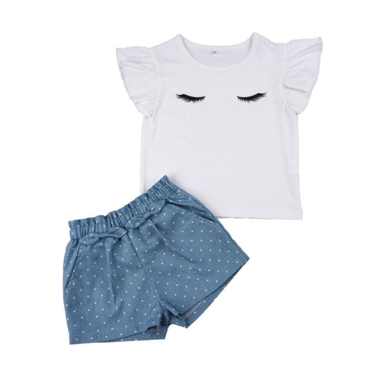 2-Piece Summer Baby Little Girl White Flutter Sleeve T-shirt Matching Polka Dots Shorts