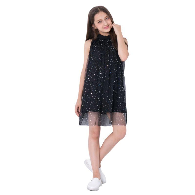 Little Big Girl Sequin Sleeveless Mesh Dress