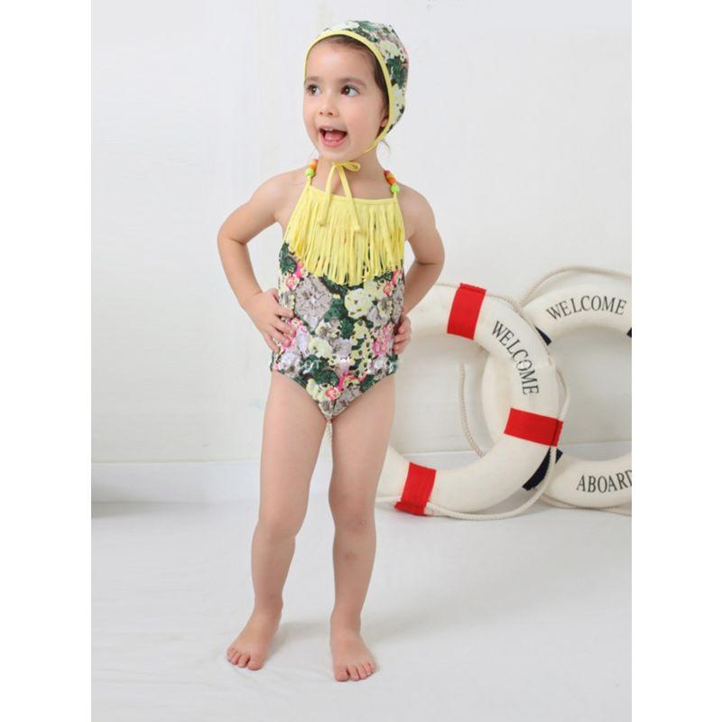 2-Piece Little Girl Tassel Trimmed Flower Halter Neck Swimwear Matching Swimming Cap