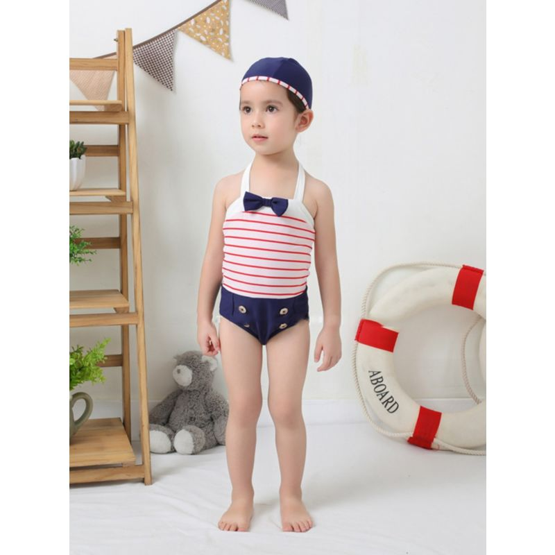 2-Piece Independence Day Theme Kids Swimsuit Matching Swimming Cap