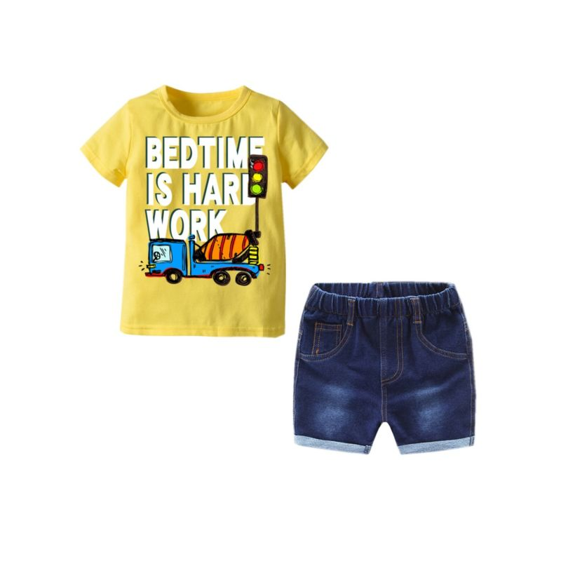 2-Piece Summer Baby Toddler Kids BED TIME IS HARD WORK CAR PRINT Yellow T-shirt Matching Short Jeans
