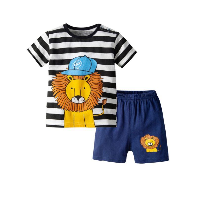 2-Piece Baby Little Kids Lion Pattern Leisure Wear T-shirt Matching Shorts