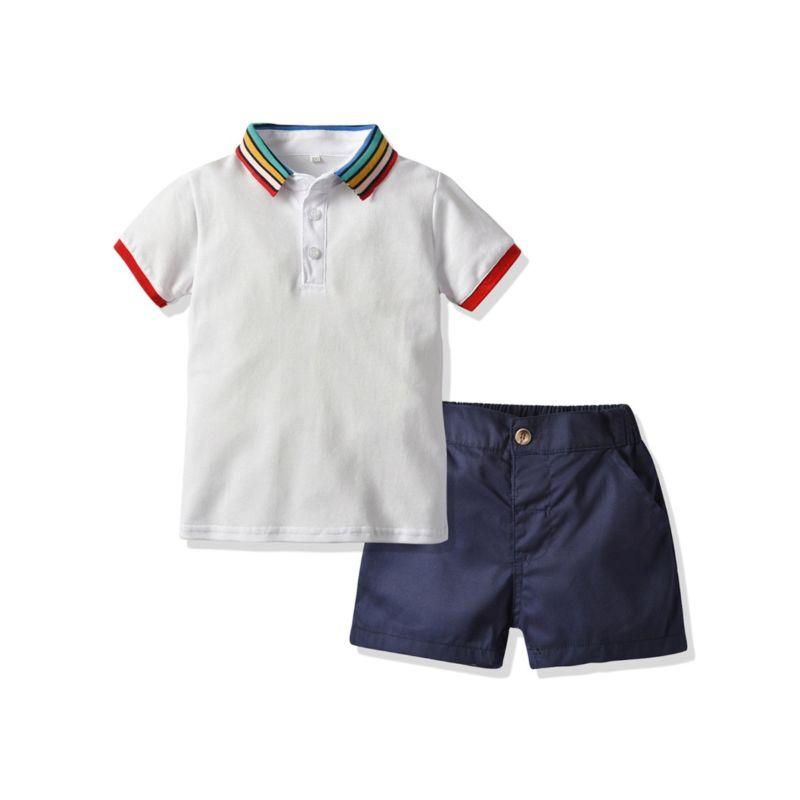 2-Piece Summer Baby Little Boy Rainbow Color Collar Polo T-shirt Matching Shorts