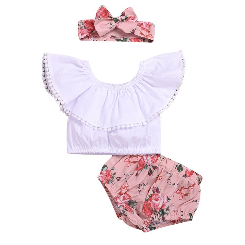 3-Piece Summer Fashion Baby Clothes Outfit White Off Shoulder Top +Flower Shorts+Headband
