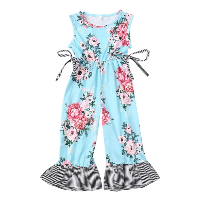 Bell-bottom Flower Baby Little Girl Jumpsuit