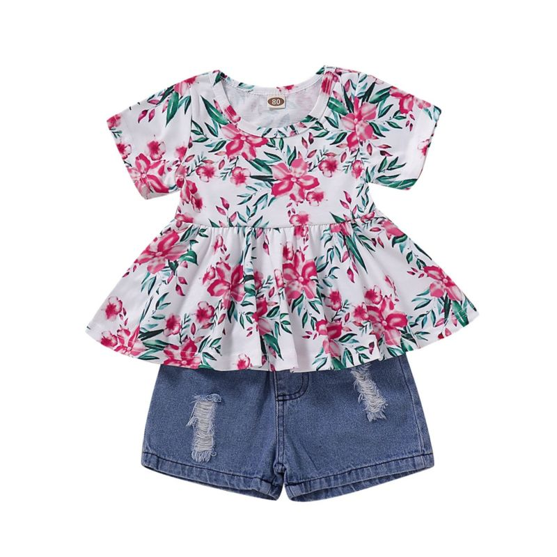 2-Piece Summer Baby Toddler Girl Clothes Outfit Flower Tunic Matching Ripped Short Jeans
