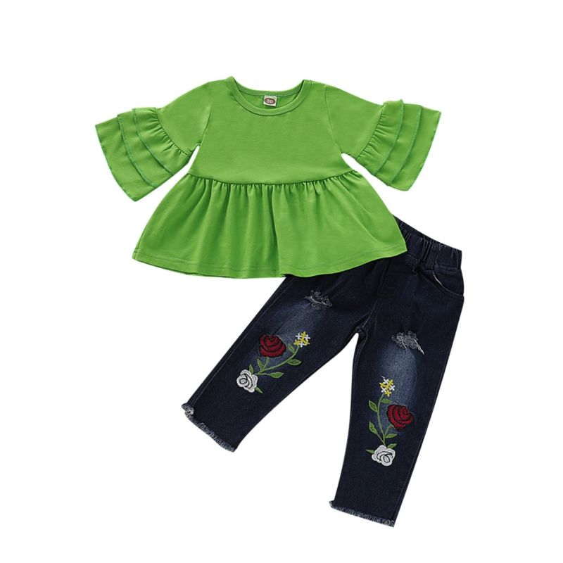 2-Piece Fashion Baby Toddler Girl Flared Sleeve Green Tunic Matching Flower Fringe-hem Jeans